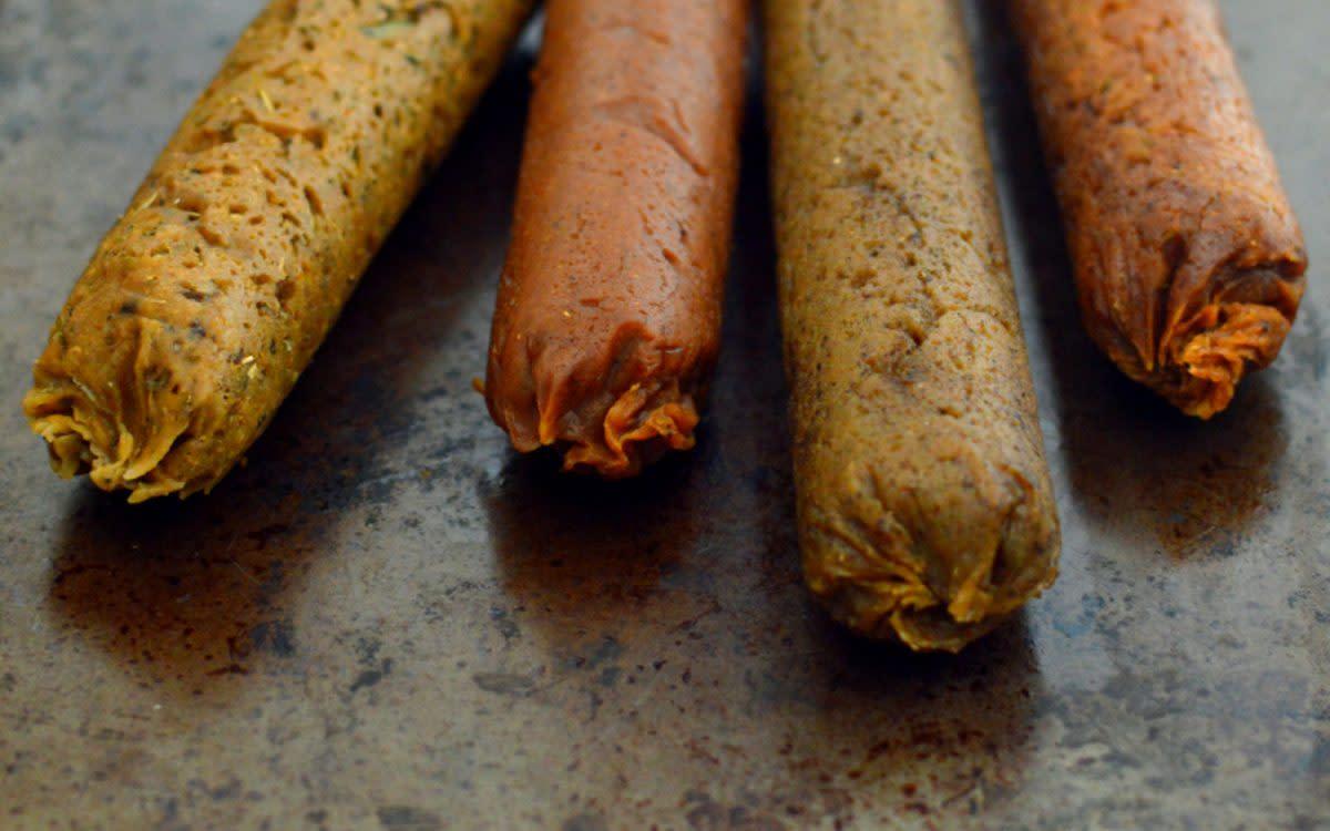 Seitan sausages four ways