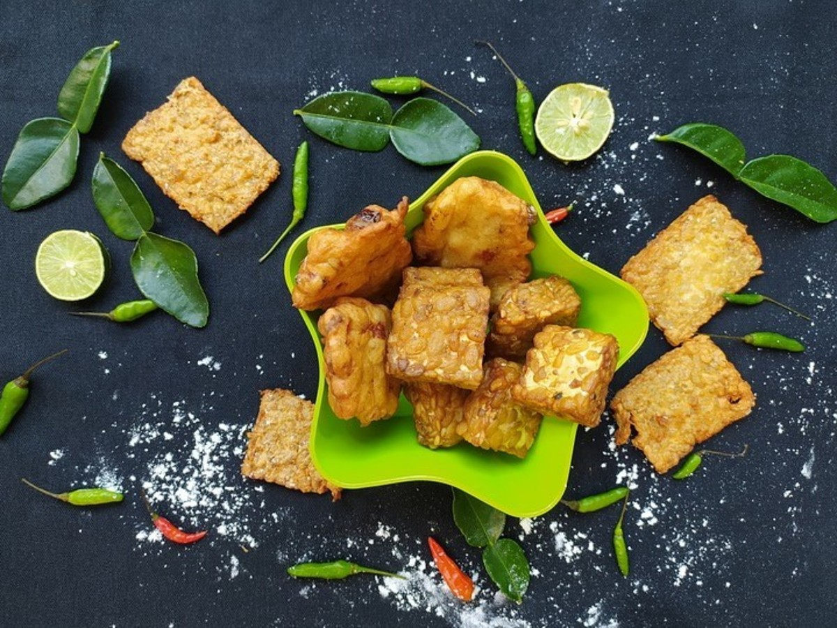 Tempeh breaded and fried for a tasty treat