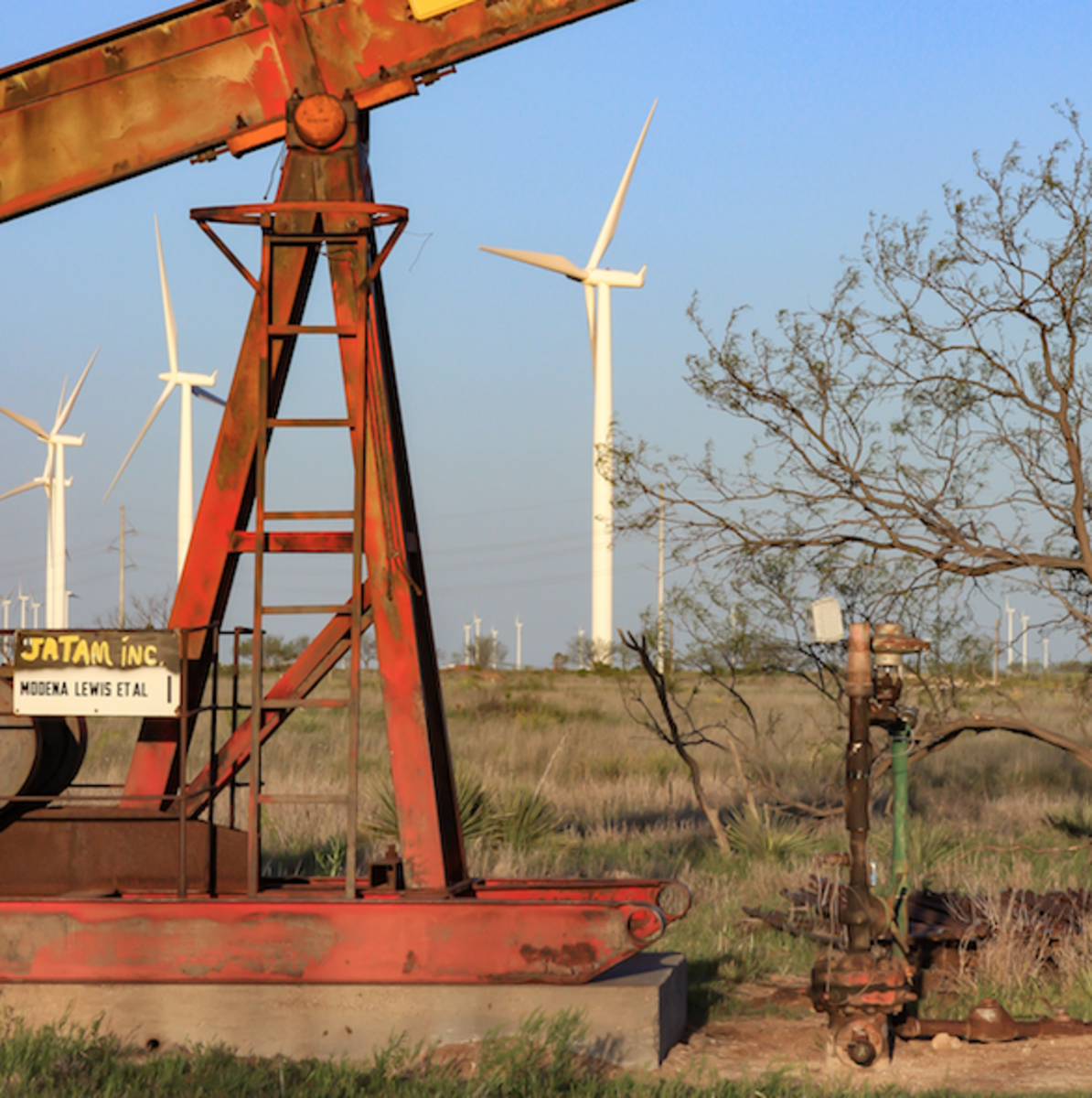 Non producing oil wells, such as this one, may be able to converted into low temperature geothermal wells that power turbines that generate electricity.