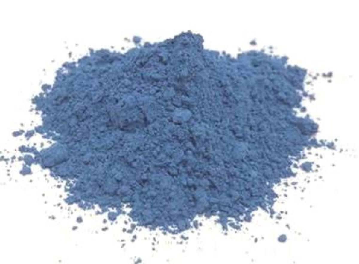 High-purity azurite is ground into a powder to be used as pigments.