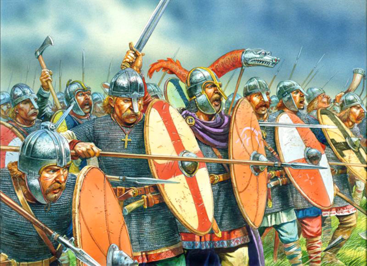 West Saxon warriors, thegns to the fore, stand in their shieldwall, the Wessex dragon flies on its staff at the rear (the idea was borrowed from the Romans)