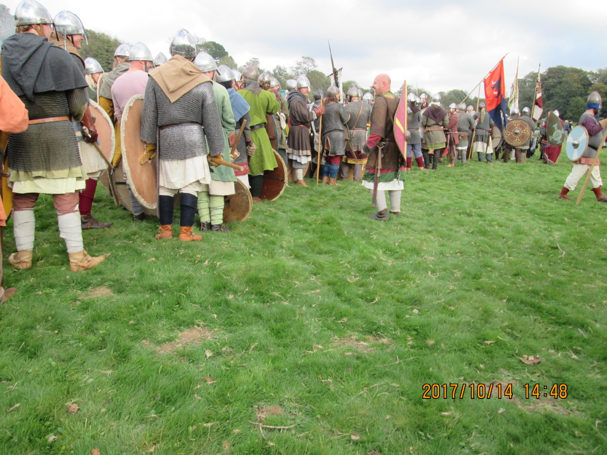 In the mean time the fighting men patiently muster for their turn to take their places in the shieldwall. Confidence was high, although it was over-confidence that might have cost Harold the battle after his win near York