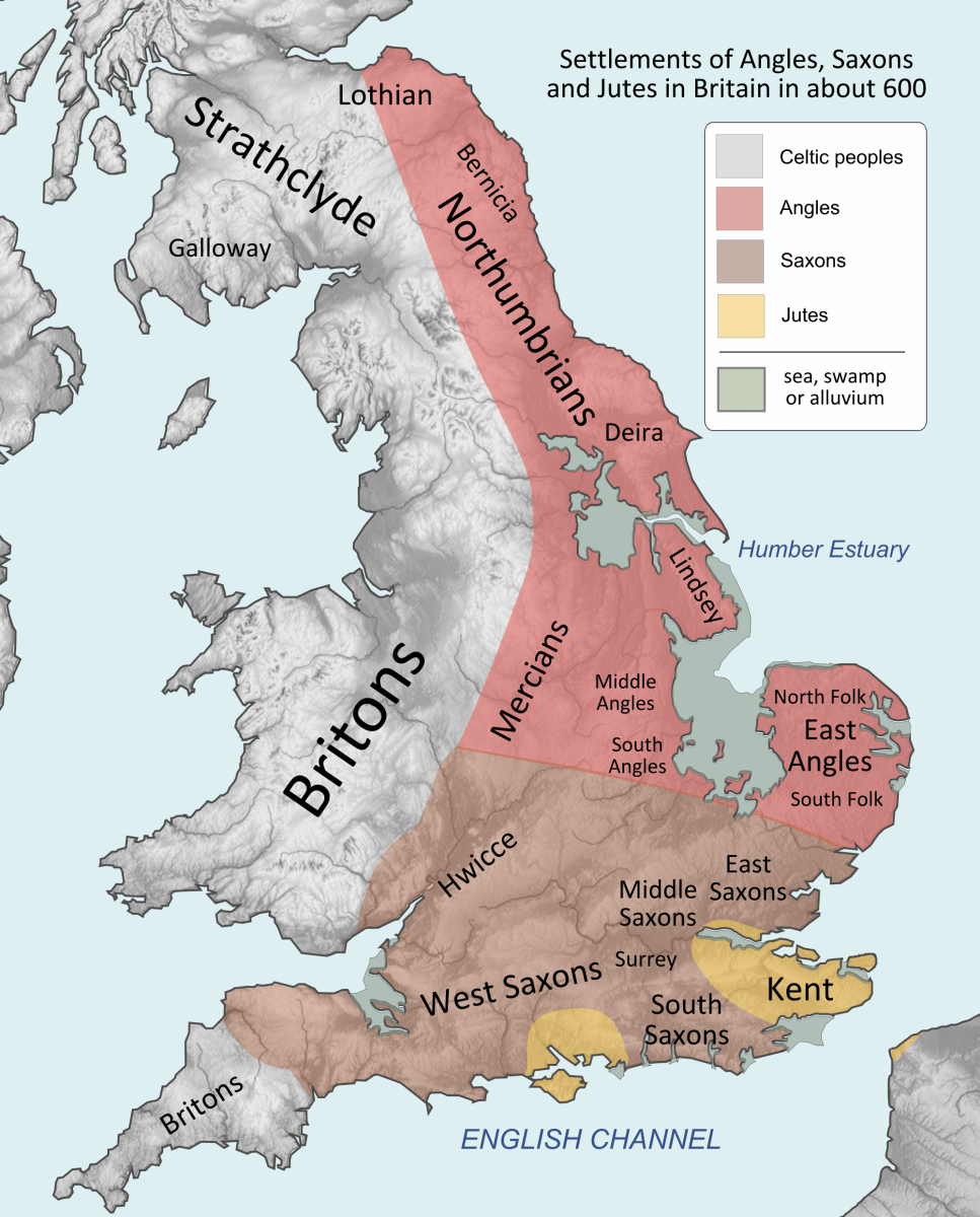 The Romans left early in the 5th Century. Incomers from the  mainland settled first in coastal regions, the Angles either side of the Humber and the Wash in the east, the Saxons along the Thames and South Coast, Jutes in Kent, Wight and Itchen valley