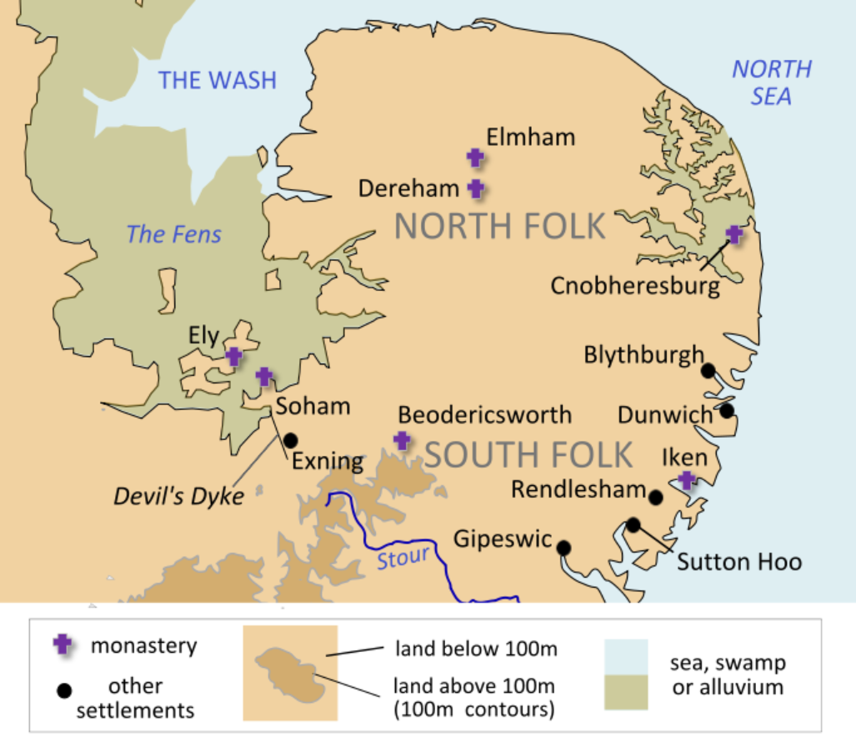 'Raedwald's realm, Northfolc and Suthfolc (Norfolk, Suffolk). Together they were known as the kingdom of the East Aengle, East Anglia