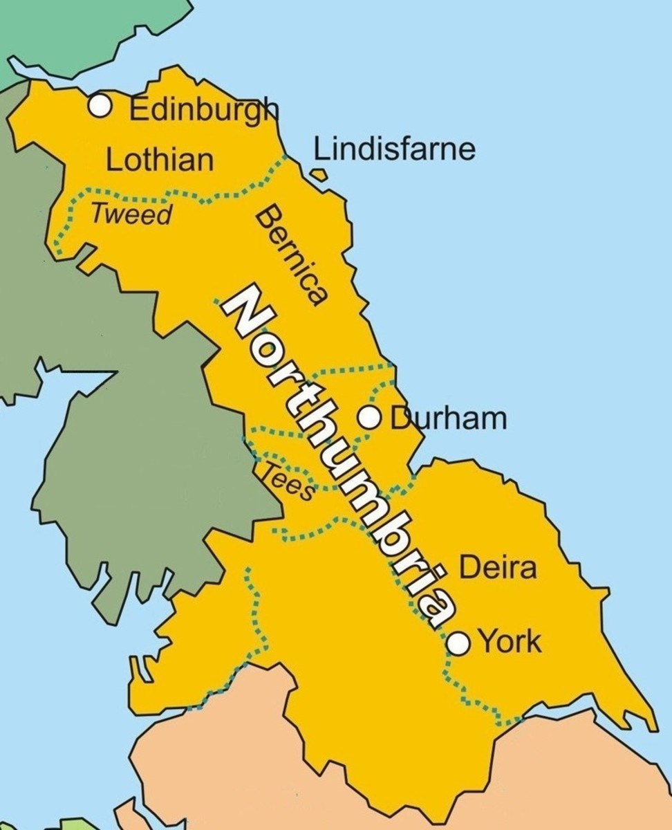 Northumbria's expansion northward encroached into Pictish and British tribal lands as far as the Firth of Forth - excluding Strathclyde British territory in the north-west (now Cumbria - linked with Cymru)