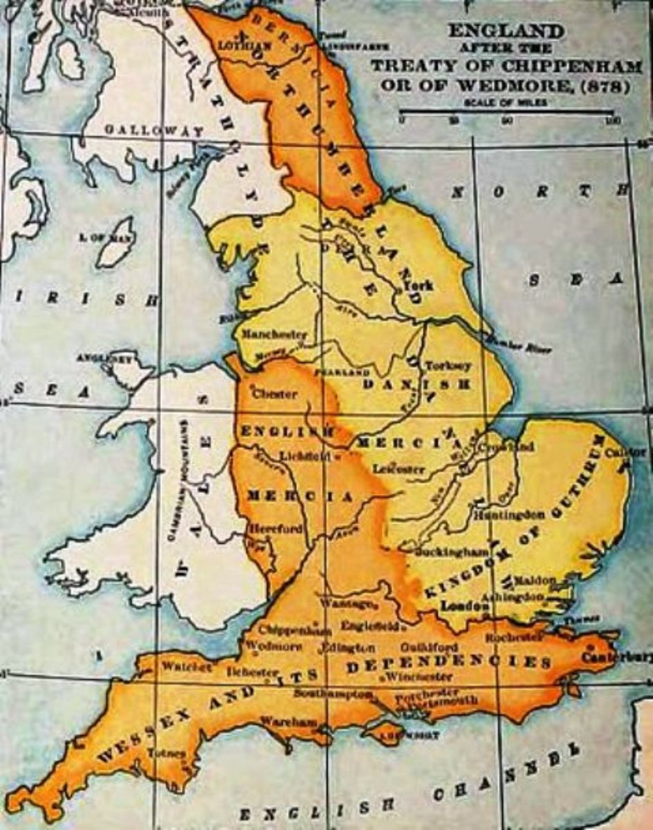 The kingdoms, AD 878 after the initial Treaty of Wedmore between King Aelfred and Guthrum the self-styled King of East Anglia before the latter's post-Yuletide (Christmas) raid on Chippenham when Aelfred was forced into hiding on Aethelney (Somerset)