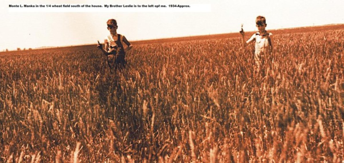 Monte Manka and his brother in the wheat field (Chelsea, Kansas - 1934)