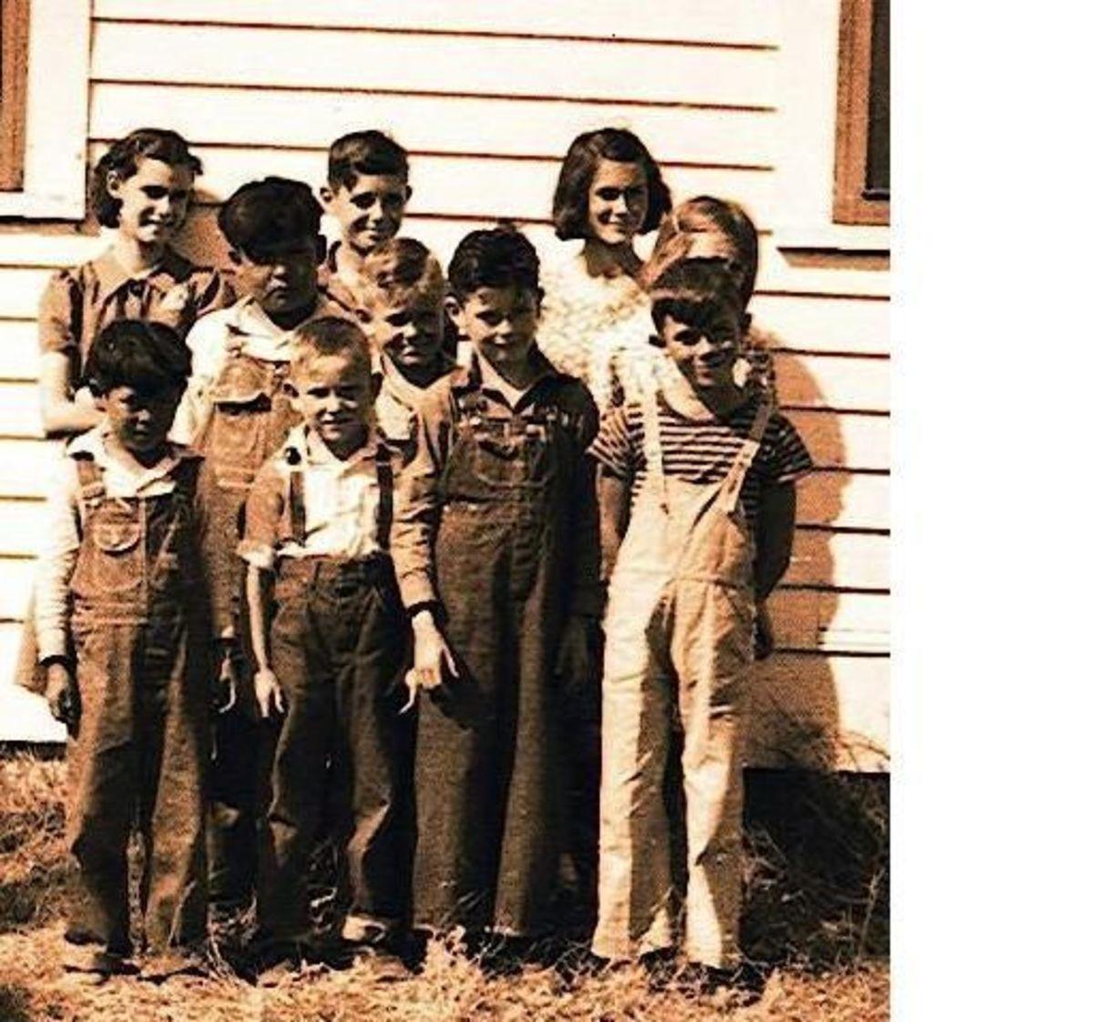 Back Row: Melda Welty, Monte Manka, Barbara Sontag  Middle Row: Manuel Vidrois, Keith Redd, Georgiana Austin (Hidden)  Front Row: Manuel's little brother, Sheldon Redd, Leslie Manka, John Sontag