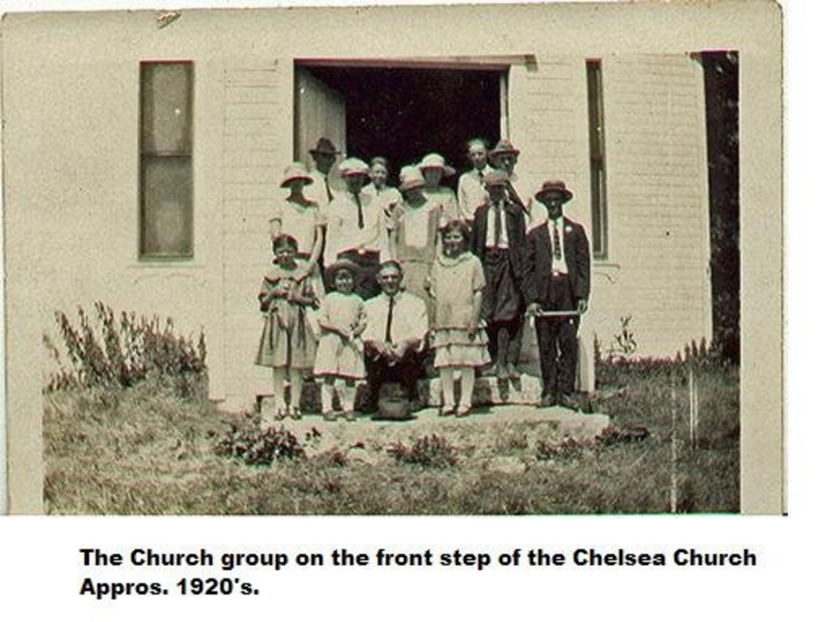 Church group on the front steps of the Chelsea Church 1920s