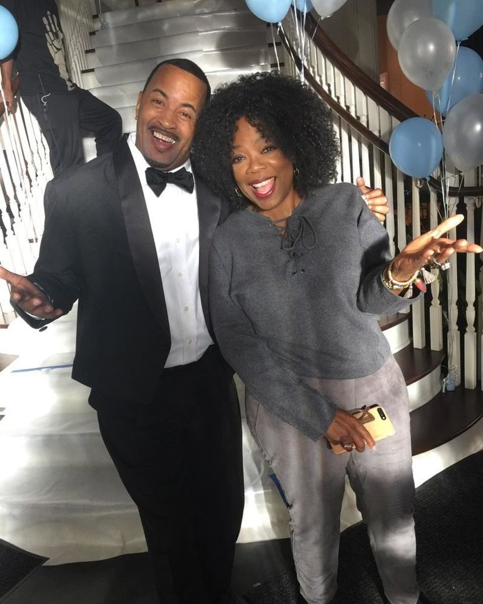 Troy with Oprah Winfrey on the set of 'Greenleaf'