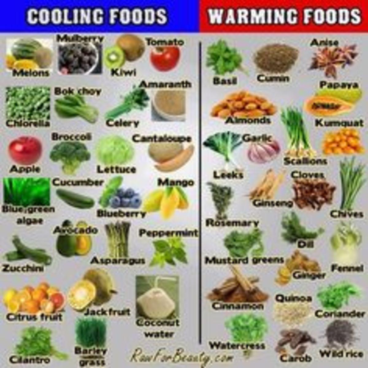 Cooling foods vs. warming foods