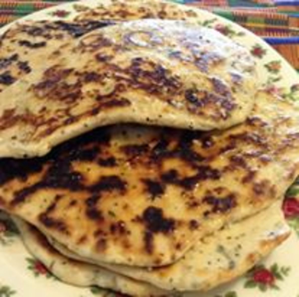 Naan with basil, oregano, garlic and other spices made directly into the dough.