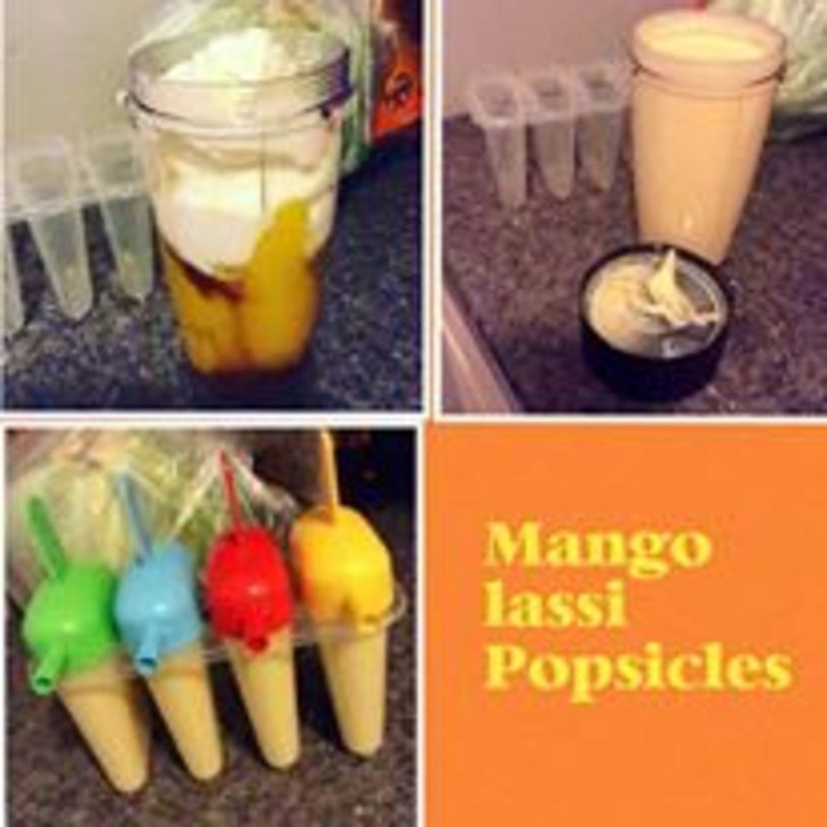 Mango lassi popsicles,made using mangoes, cardamom, vanilla, yogurt, and chia seeds.