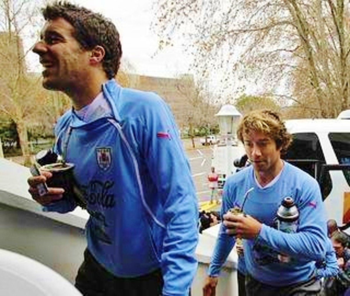 The Uruguayan Soccer team carrying their Yerba Mate and thermos to the game.