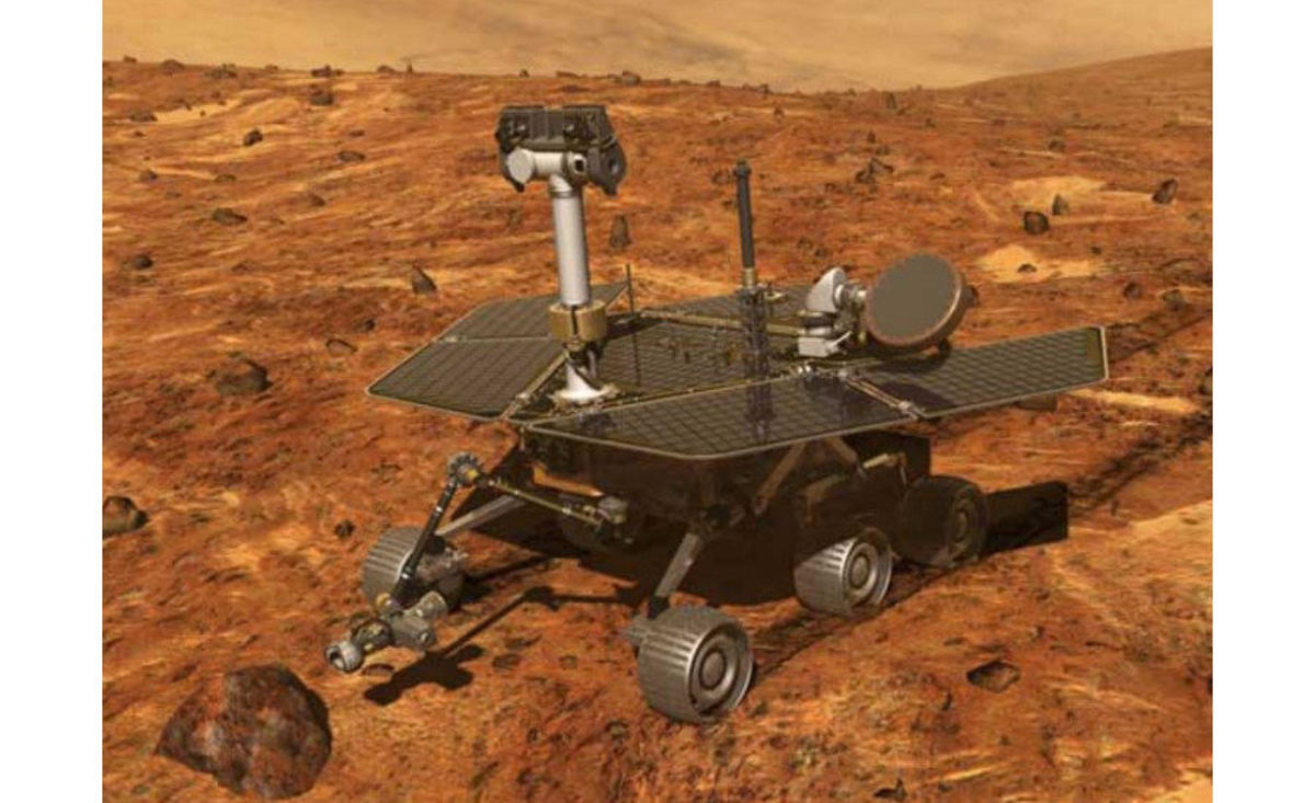High-efficiency gallium arsenic solar panels are used on the Mars Exploration Rover