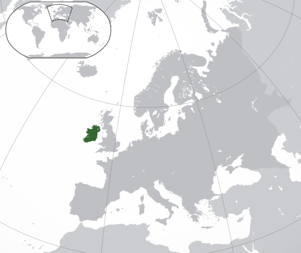 Map showing Ireland