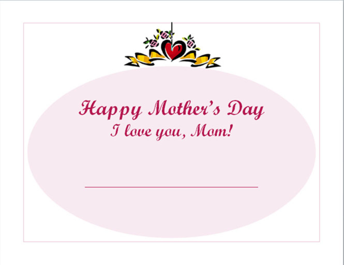 Free Mothers Day printable certificate template #1 -- click the link in the left column to download
