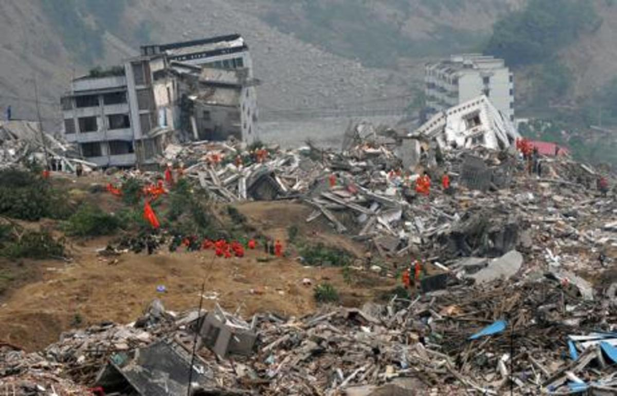 Buildings destroyed by an earthquake that struck Beichuan in Sichuan Province, China, in May 2008