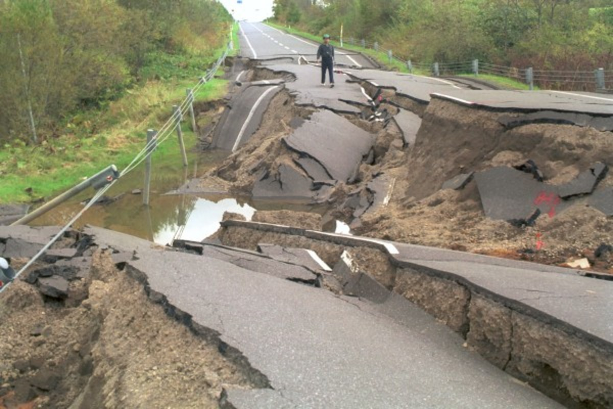 A road in Asia is snapped by the force of a recent earthquake