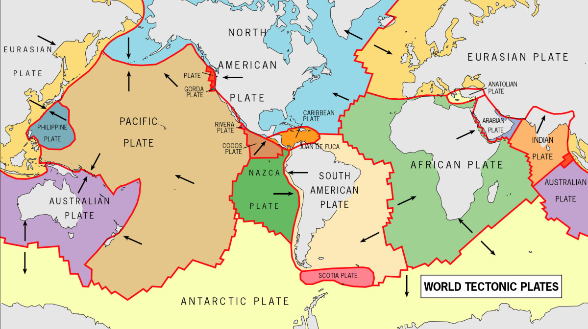 This diagram shows the different tectonic plates on Earth. They are constantly moving and responsible for earthquakes