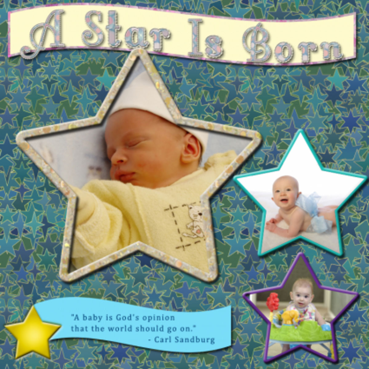 Learn how to create a title for baby pictures and scrapbook sayings