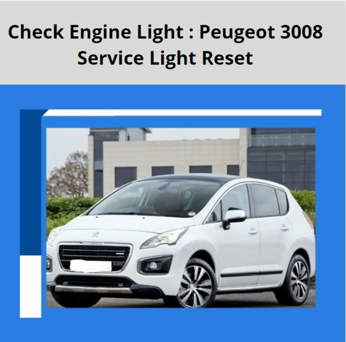 Check Engine Light : Peugeot 3008 Service Light Reset.