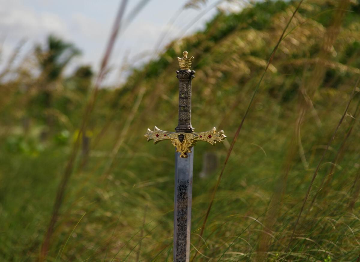 sword in grass field