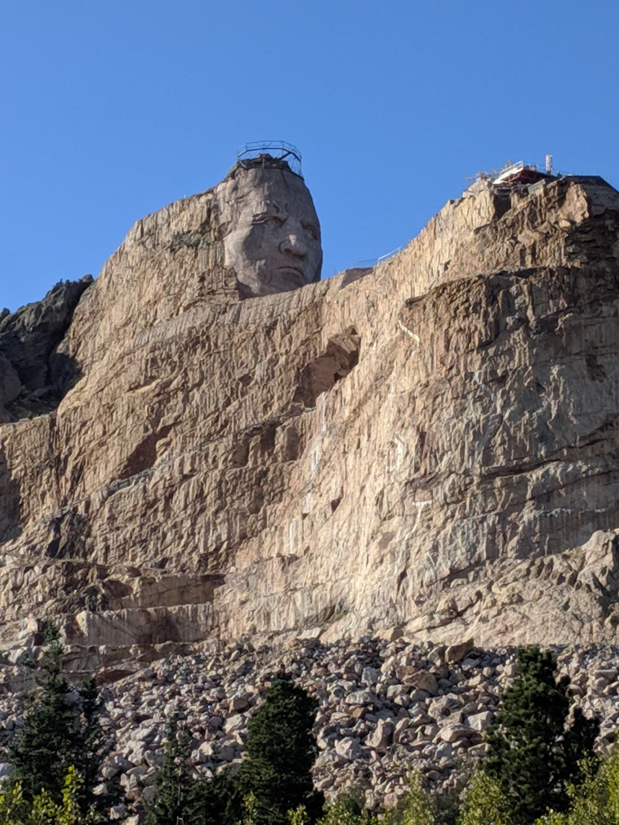 Crazy Horse being sculpted out of Thunderhead Mountain at the Crazy Horse Memorial in South Dakota.
