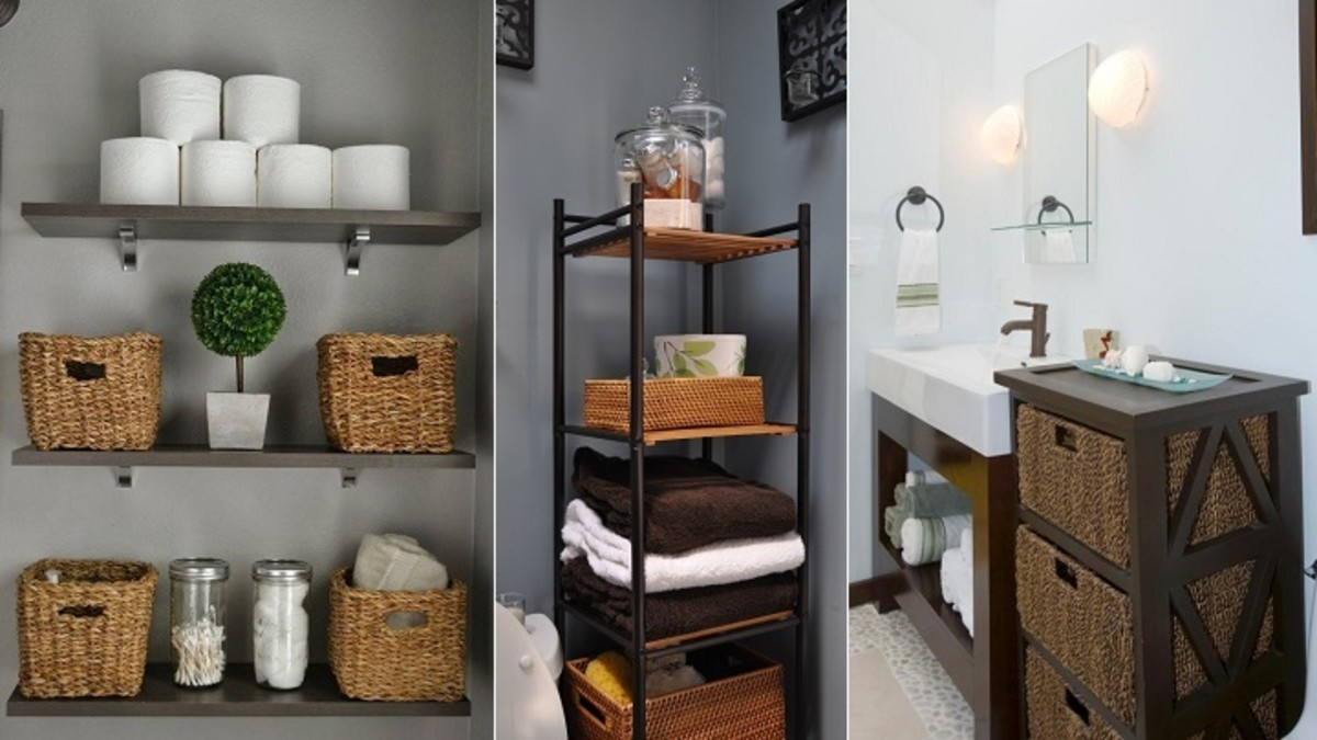Ideas for organizing the bathroom with wicker baskets.