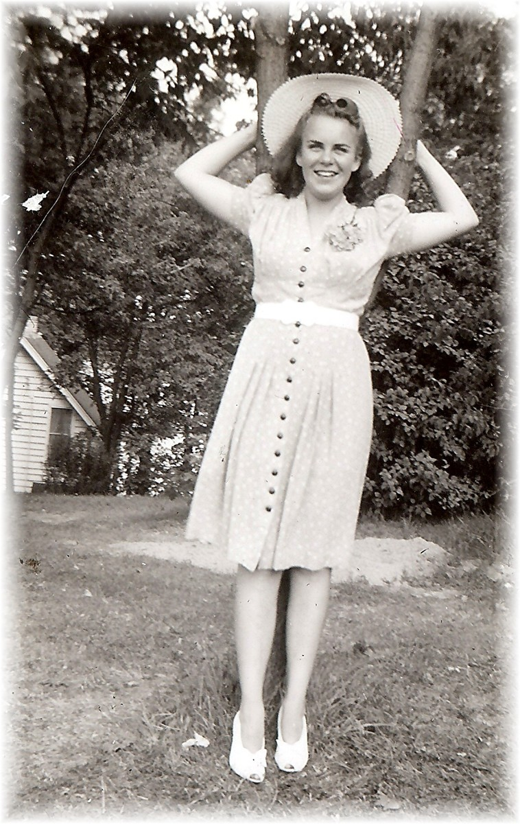 This sweet young girl, Carol Trenkamp would later become my mother.  Here she is out at the lake cottage in Okauchee, Wisconsin.