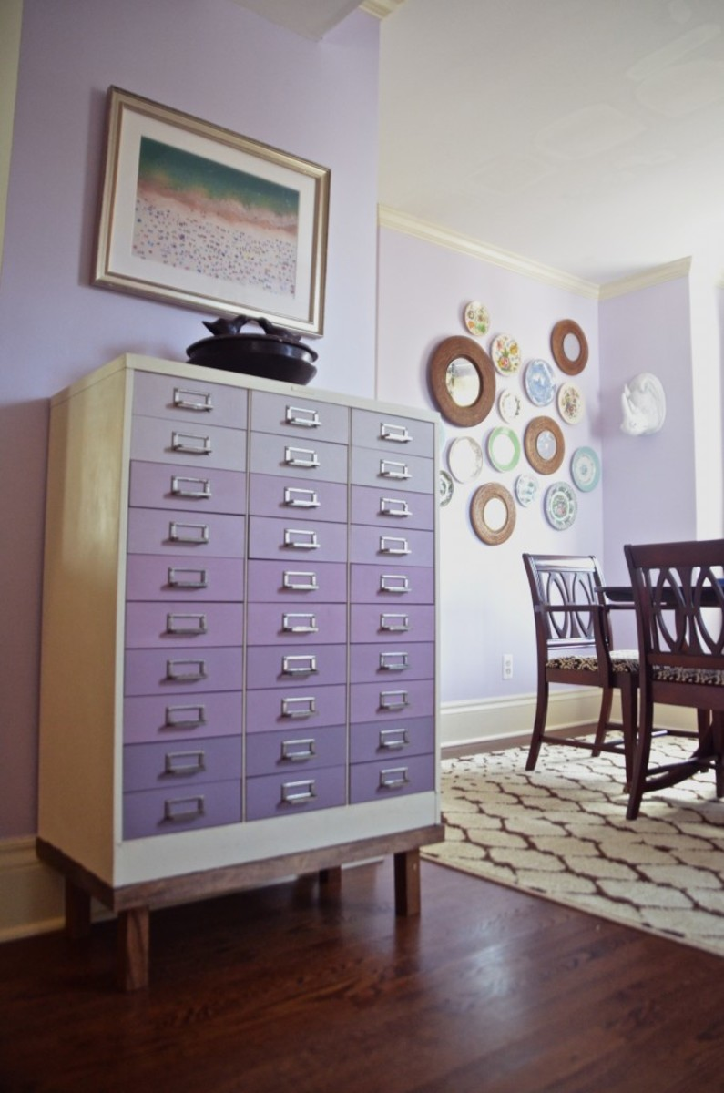 Lavender paint on the wall dining room makeover and the ombré file cabinet.