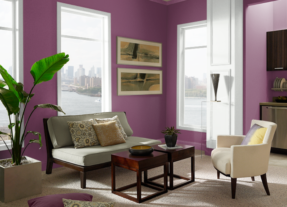 These are purple and precisely matched in the room paint.