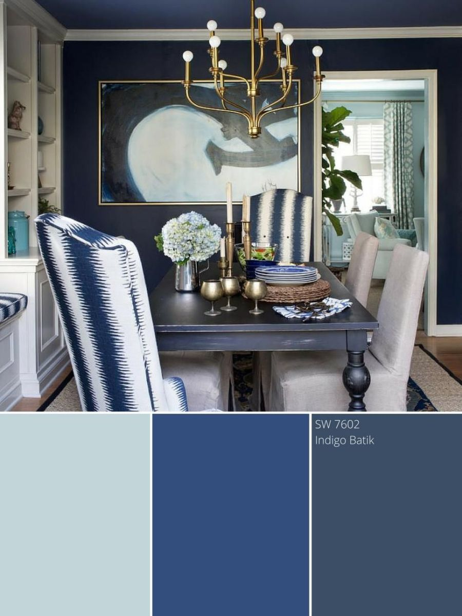 There's a several new blue in the wall dining room and it's indigo.  This are three shades of blues the design ideas.
