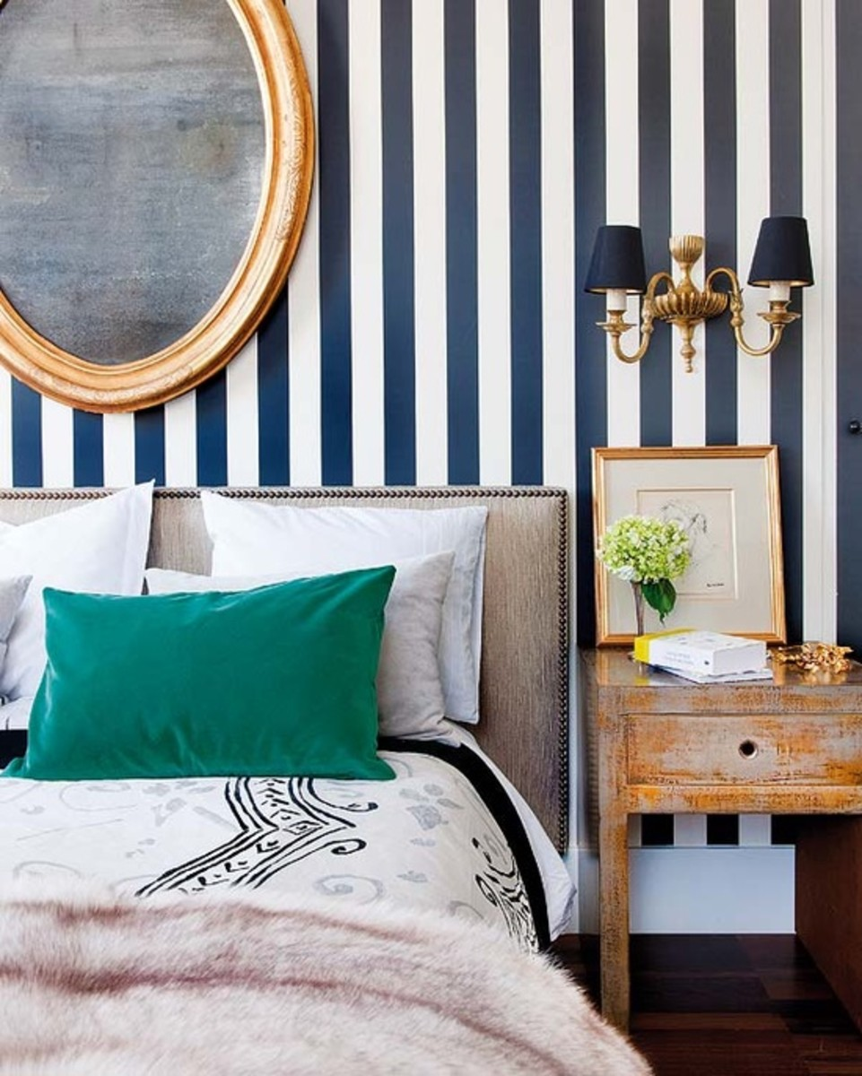 The wall stripes. Think clean, rooms and nautically-inspired furniture. The durability of stripes is what makes them so appealing. They can be anything from playful to classically preppy depending on the color.