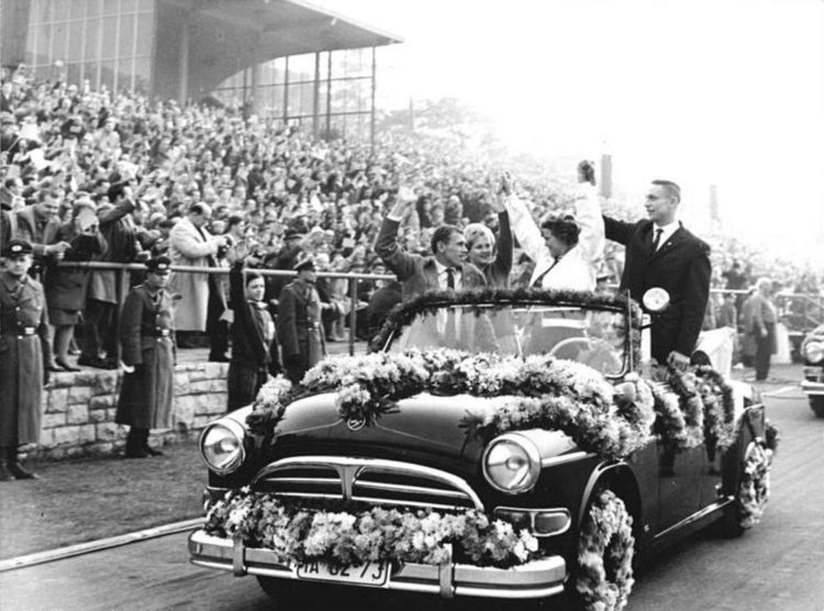 Valentina Tereshkova greeting crowds of Soviet citizens
