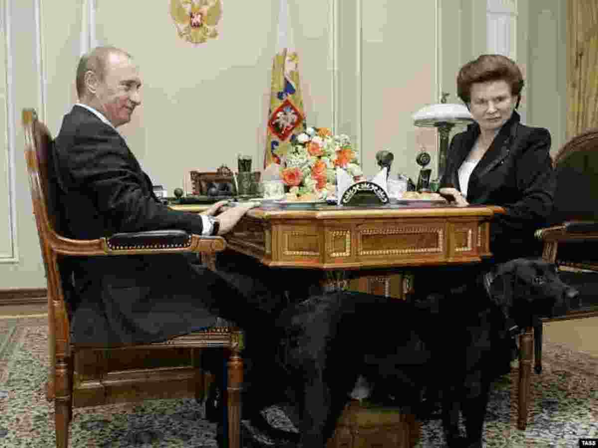 Valentina Tereshkova with Russian president Vladimir Putin