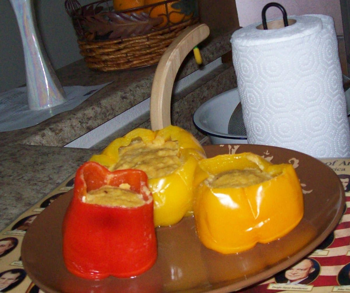 Cooked moyi-moyi in bell peppers