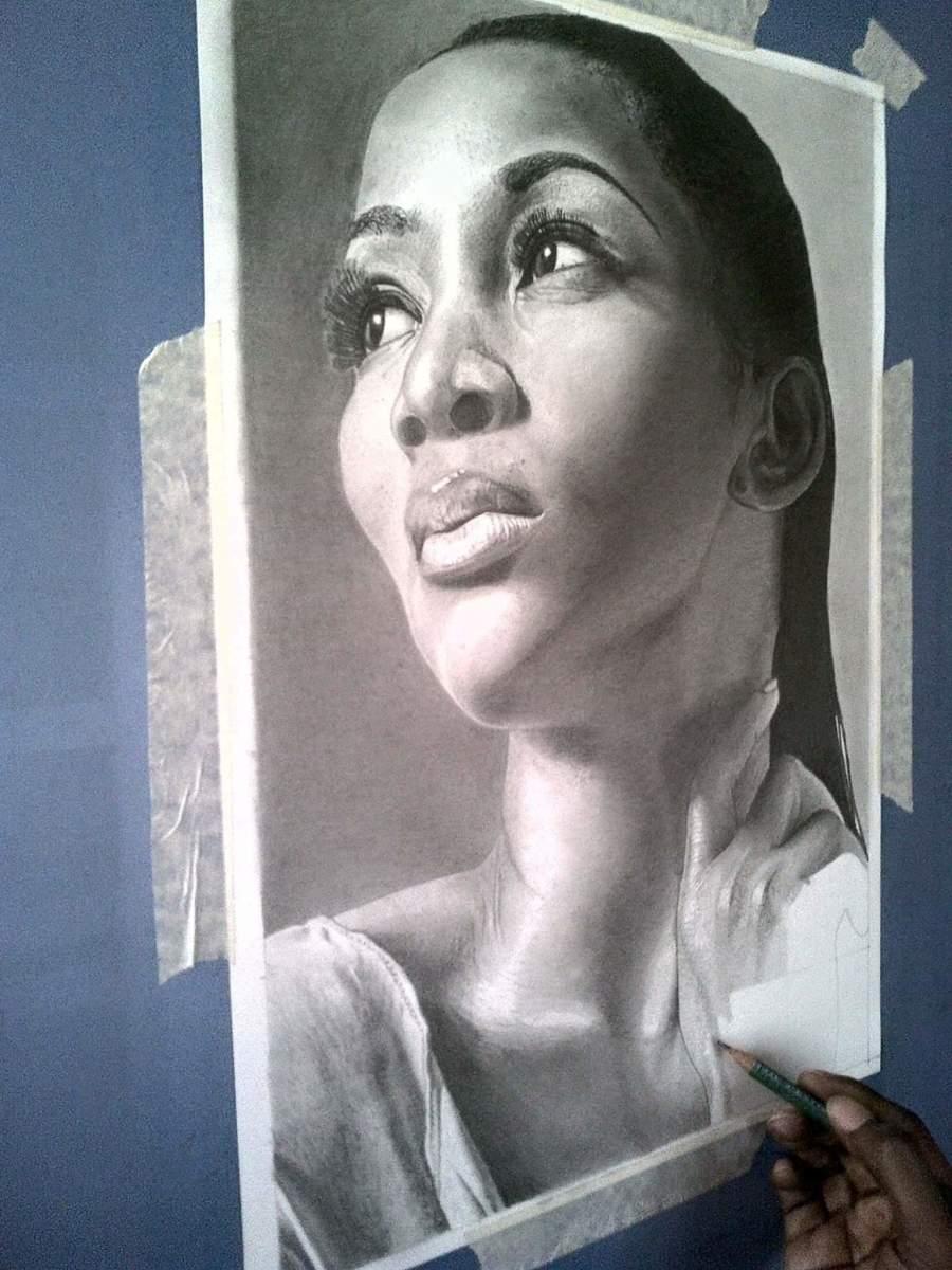 Work in progress studio view of my Genevieve Nnaji pencil drawing