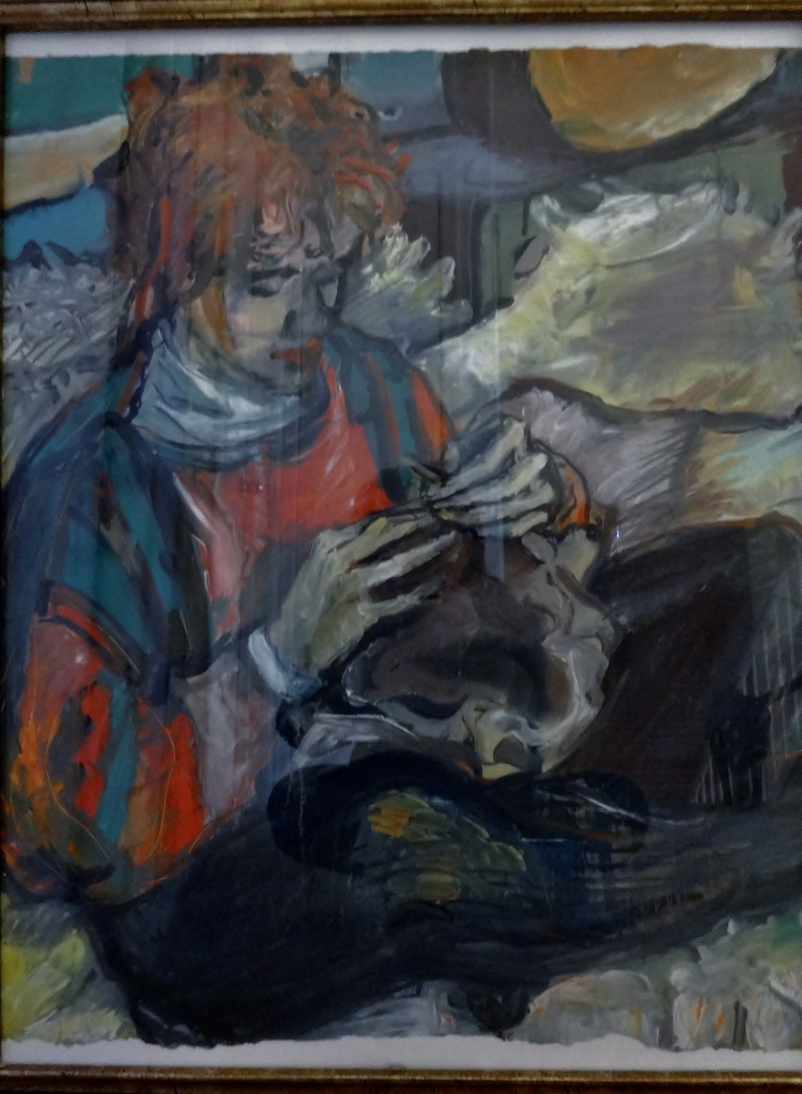 """""""Reka Knits"""", Painting by my brother, Tibi Egyed, of me knitting.  I'm also wearing another one of my knitted creations."""