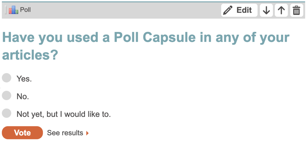 This is what a Poll Capsule looks like in the HubTool.