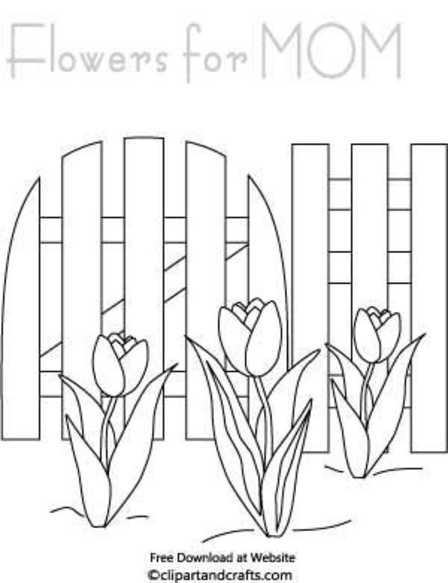 Garden Fence And Tulip Flowers Mothers Day Coloring Page
