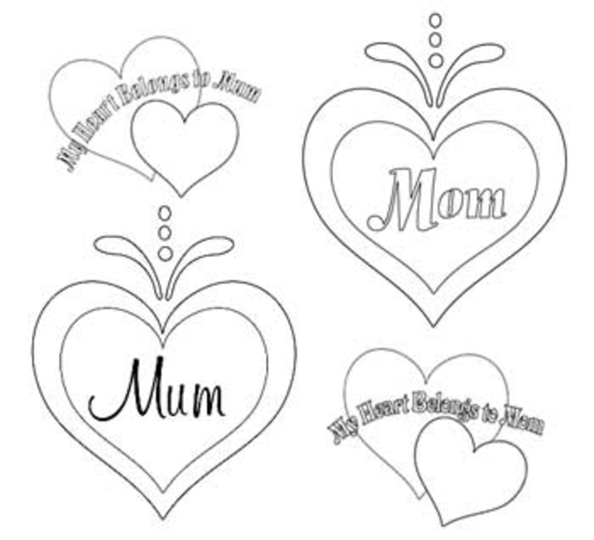 Mothers Day Coloring Pages, Hearts