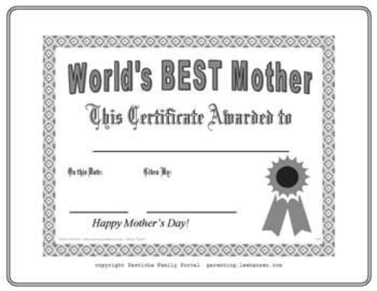 Best Mother Award Coloring Sheet Printable