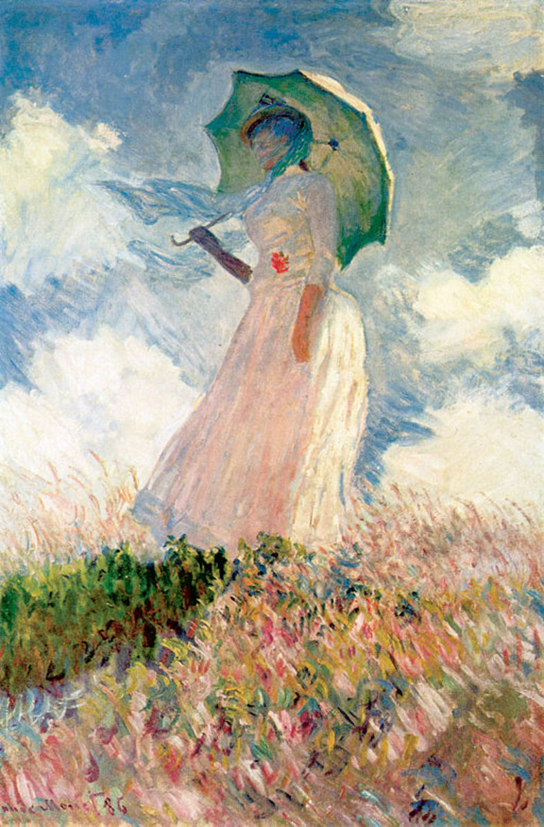 Study of a Figure Outdoors: Woman with a Parasol, facing left, 1886