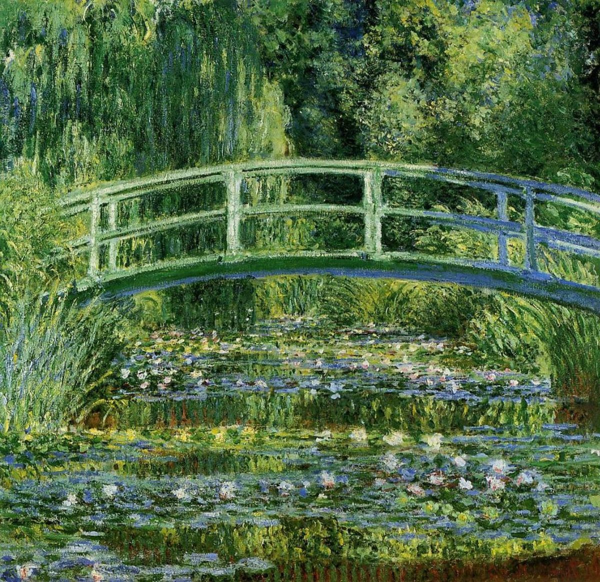 Water Lilies and Japanese Bridge-(1897-1899)