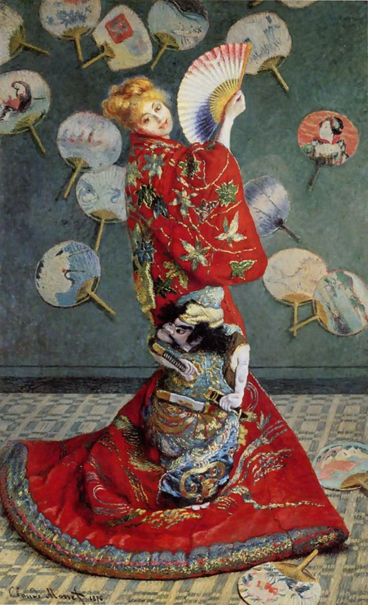 Madame Monet in a Japanese kimono, 1875