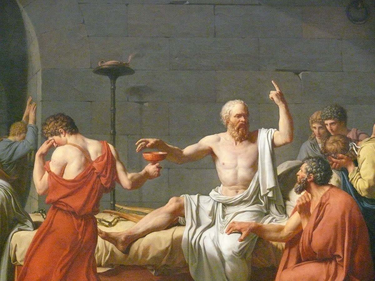 """Painting """"The Death of Socrates"""" by Jacques Louis David 1787."""