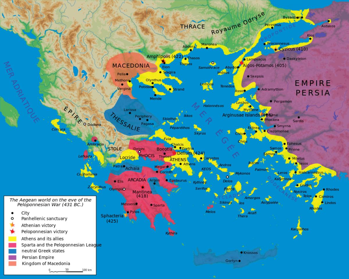 Map of the Peloponnesian War in 431 BCE.