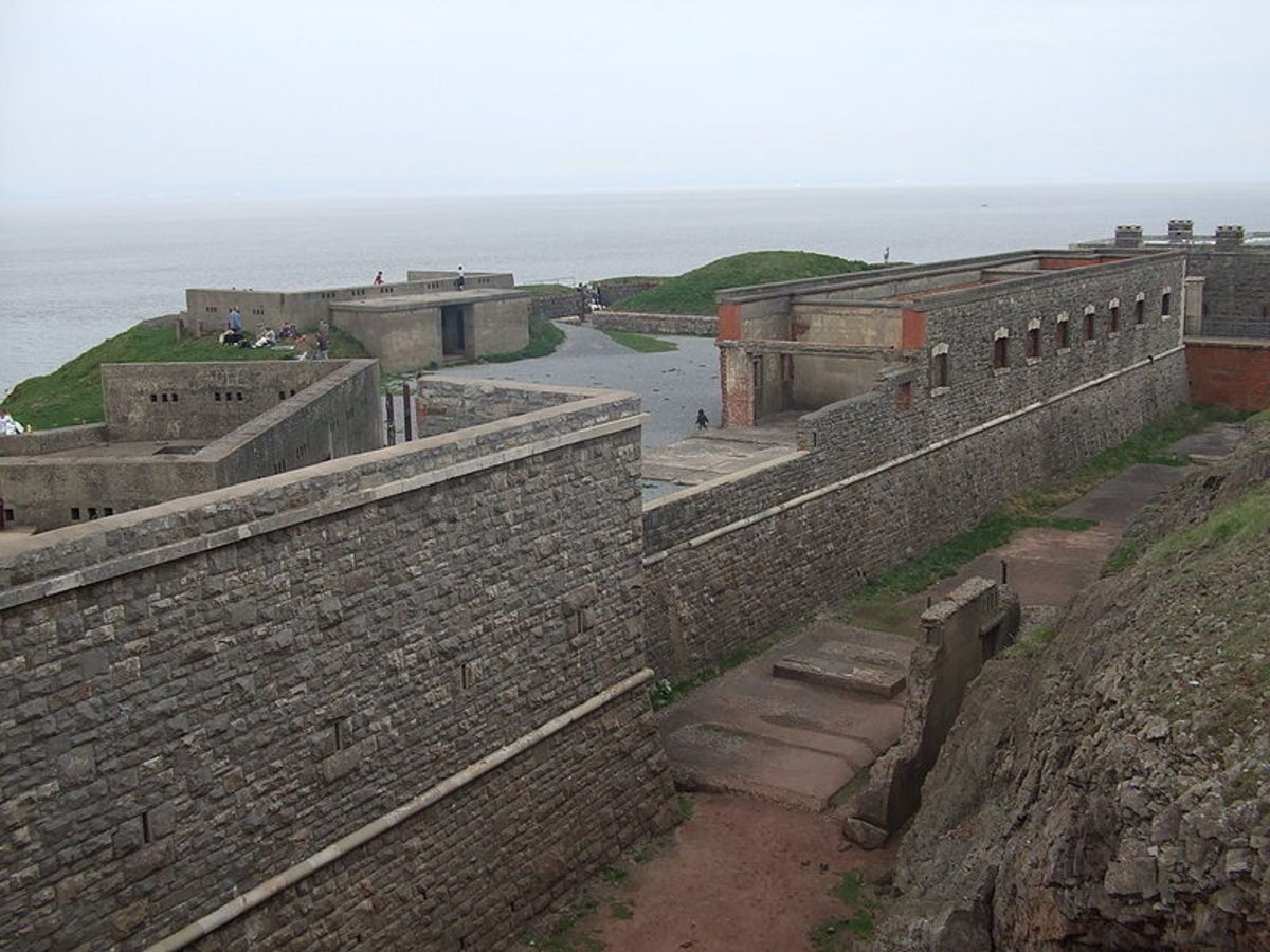 Headland Fort of 1860s, looking out over the Bristol Channel