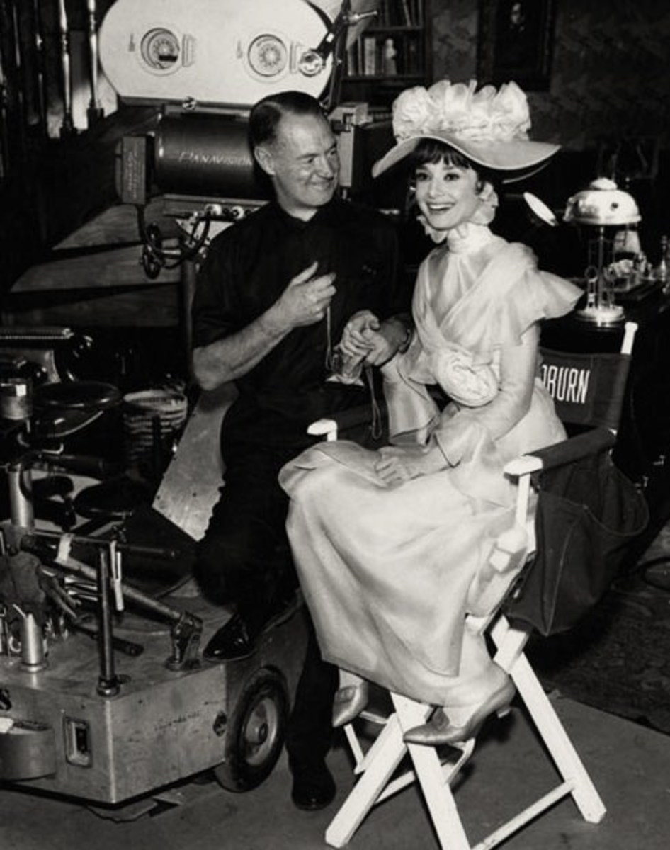 An image of Audrey Hepburn and Harry Stradling in the shooting of My Fair Lady.